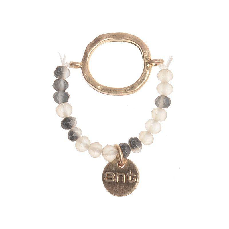 Anillo anilla metal gris blanco