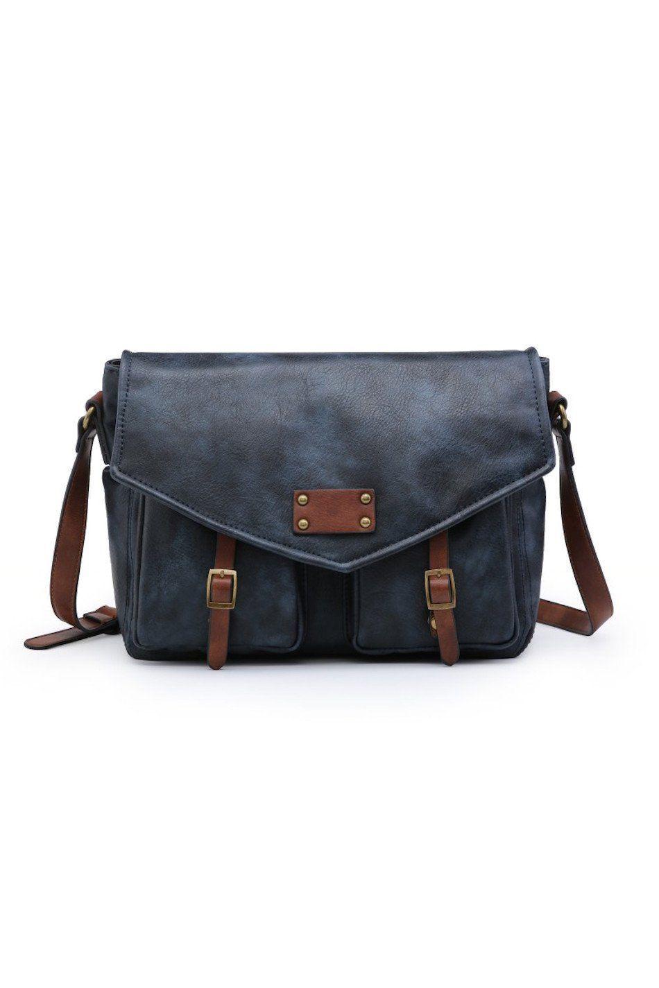 Bolso bandolera maletín azul