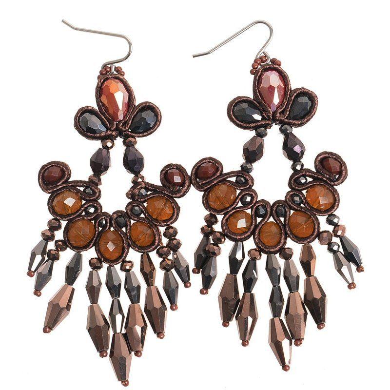 Pendientes cristales colgantes marrón