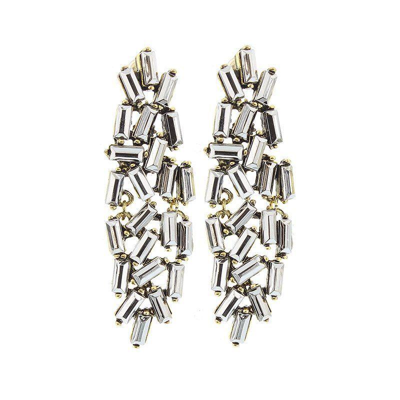 Pendientes cristales rectangulares titanio