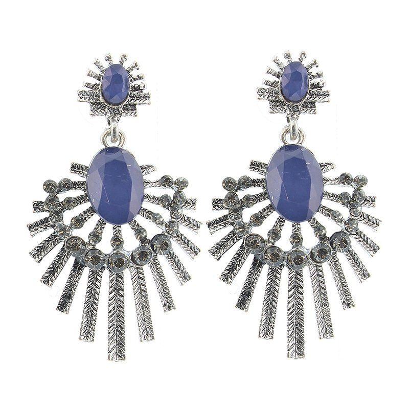 Pendientes metal cristales azul