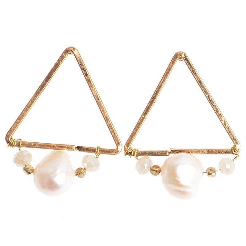 Pendientes triángulo perla oro