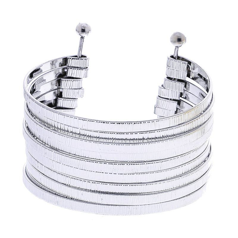 Pulsera tiras metal plata