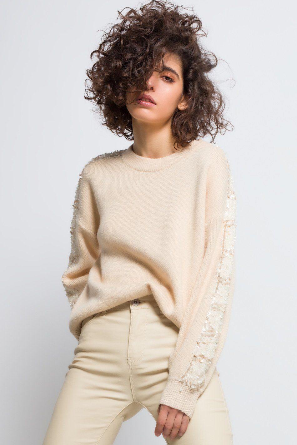 Jersey lentejuelas mangas beige