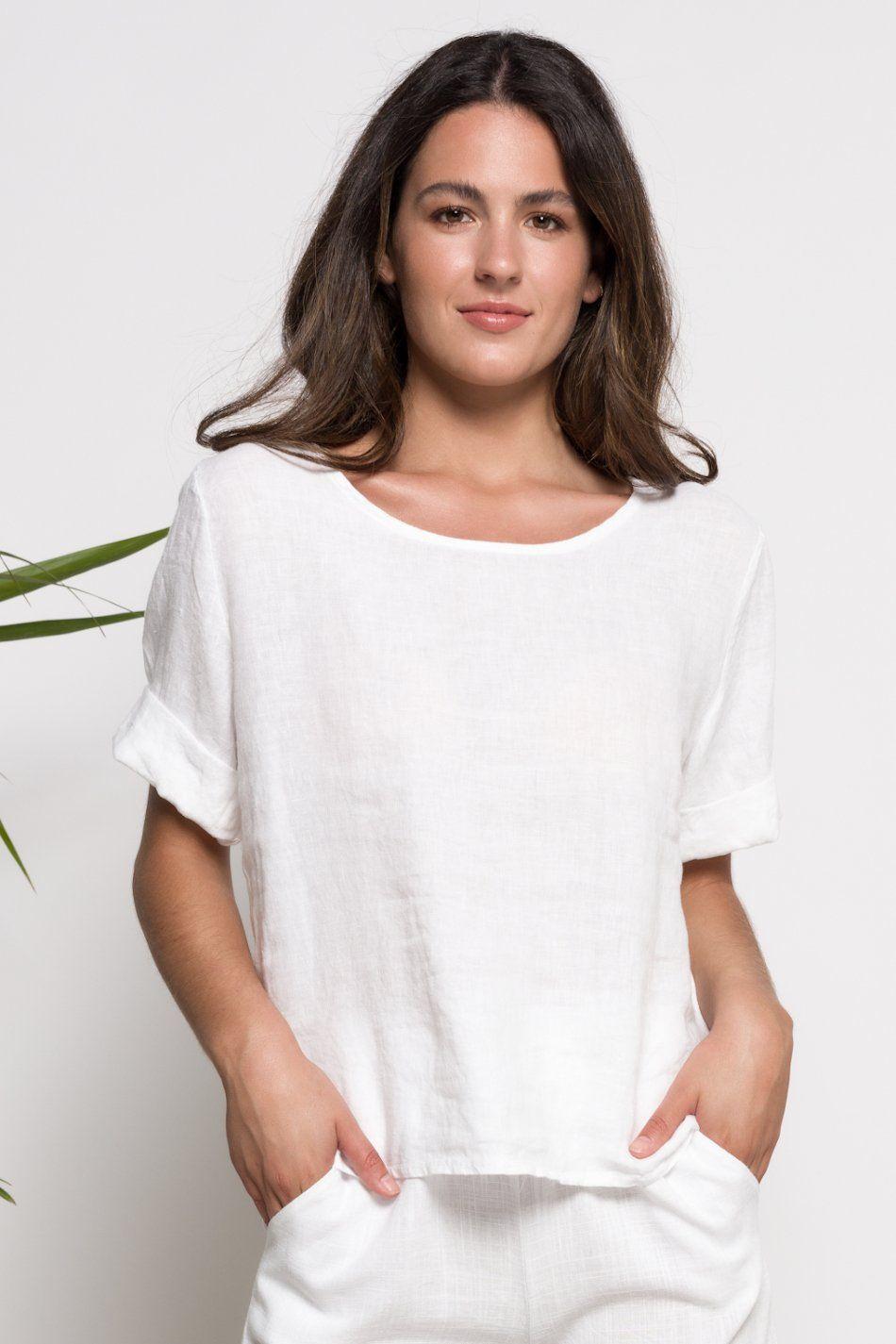 Camiseta lino botones
