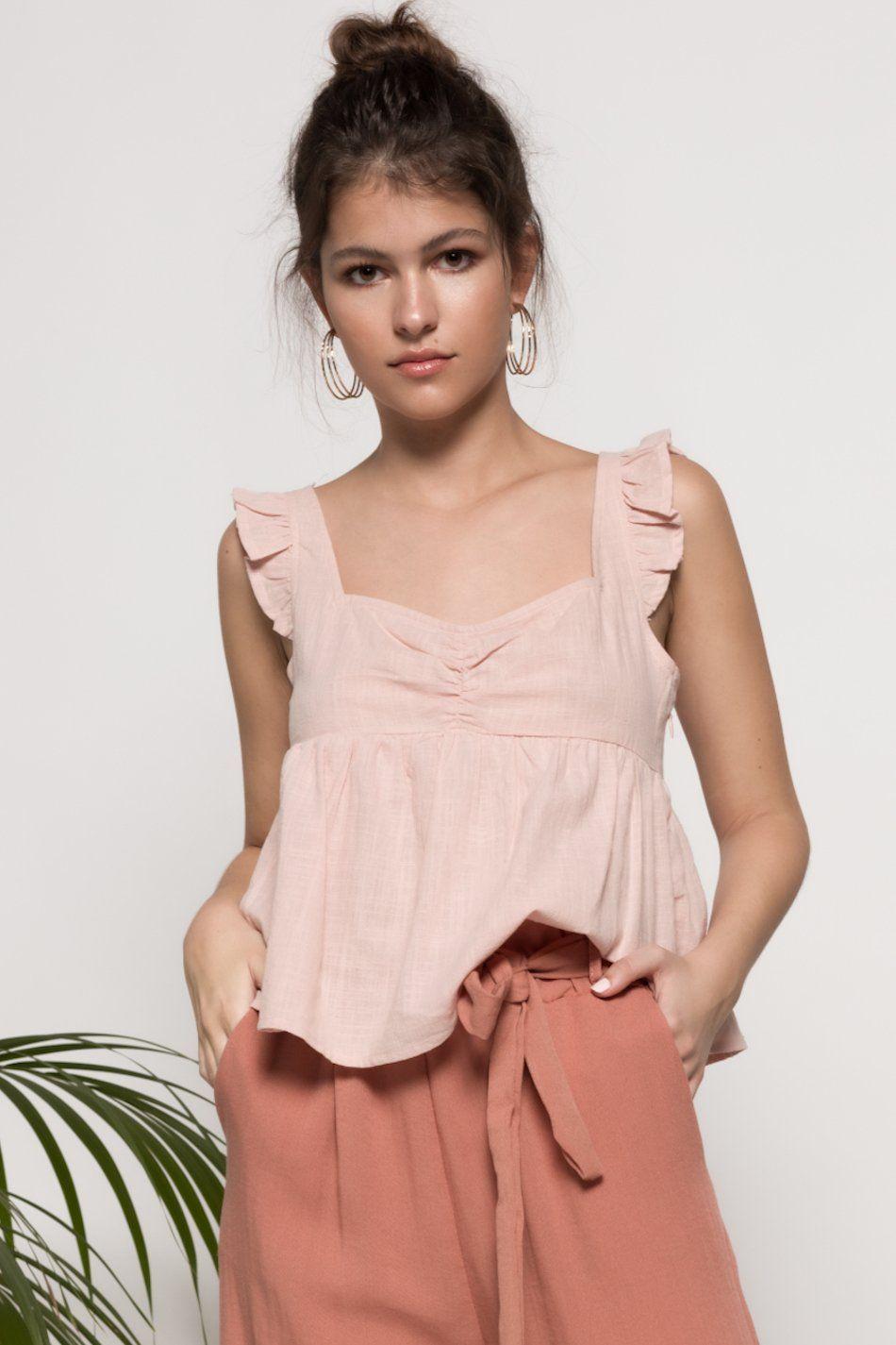 Blusa volantes tirantes rosa