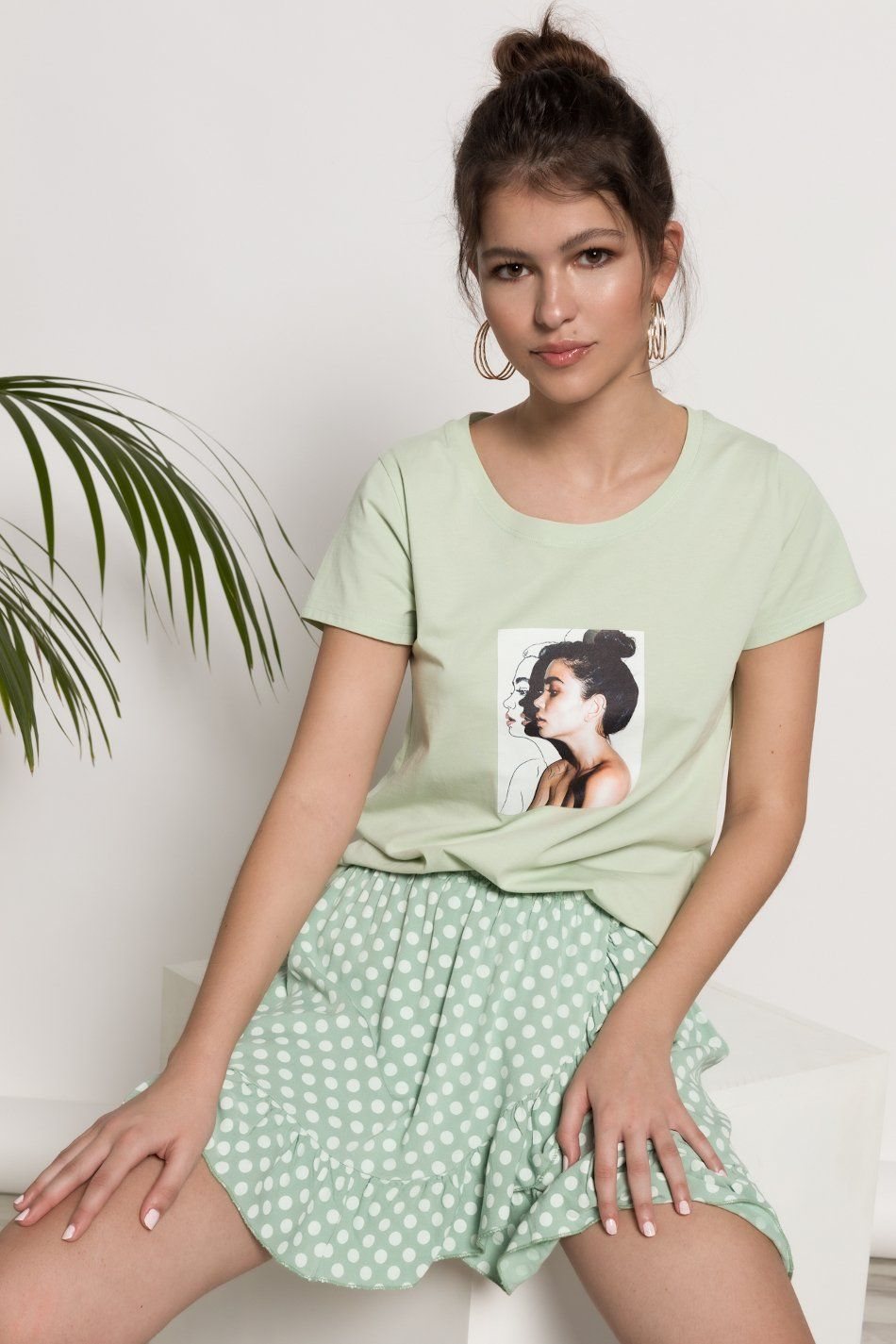 Camiseta estampado chica verde