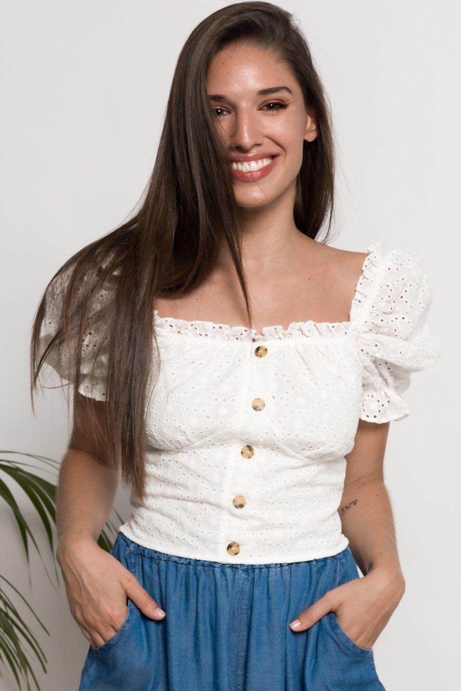 Blusa bordado suizo botones