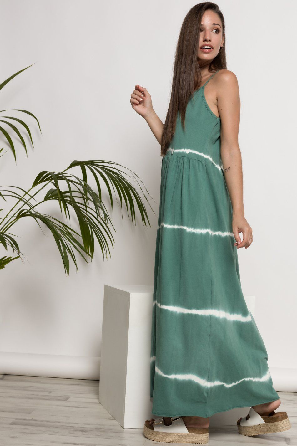 Vestido largo tie dye verde