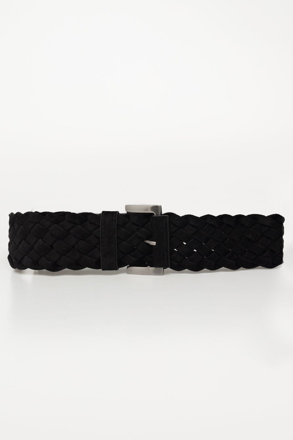 Cinturón trenzado antelina negro