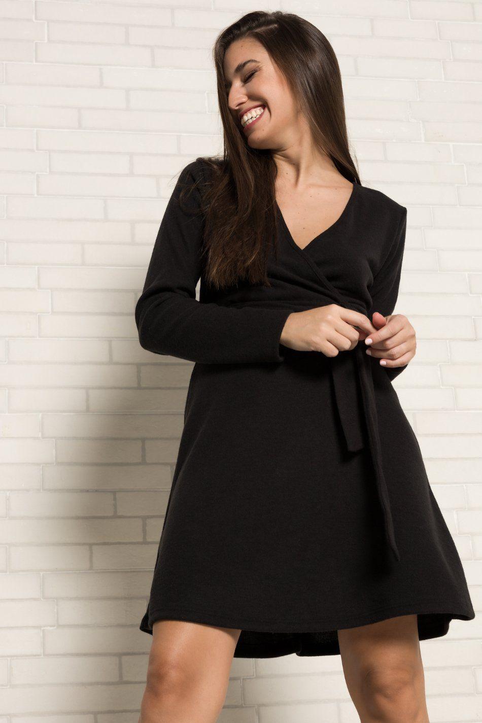 Vestido afelpado negro