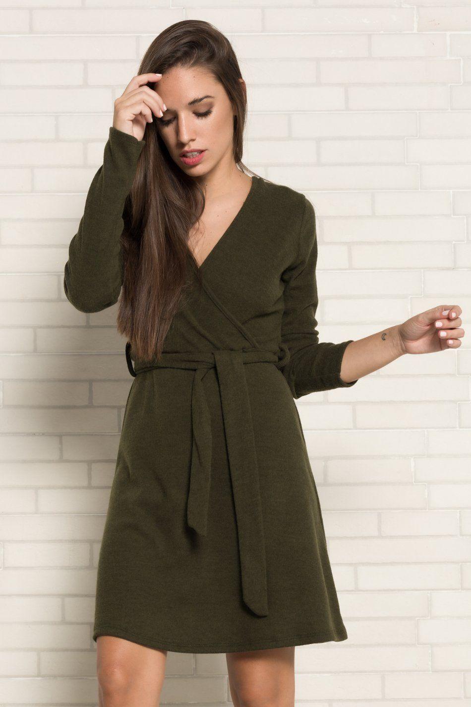 Vestido afelpado verde