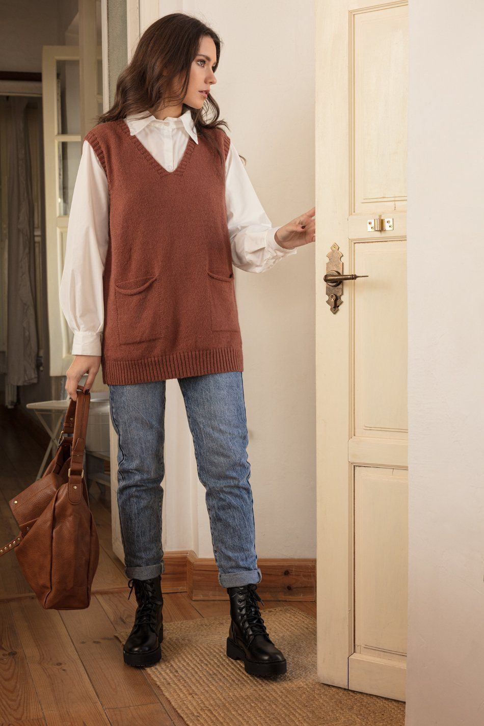 Chaleco bolsillos marrón