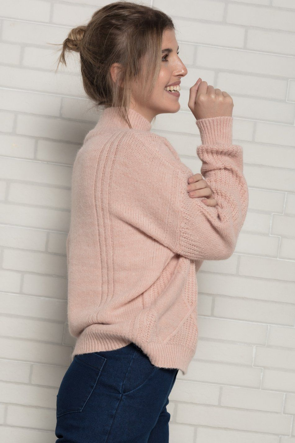 Jersey rombos cuello alto rosa