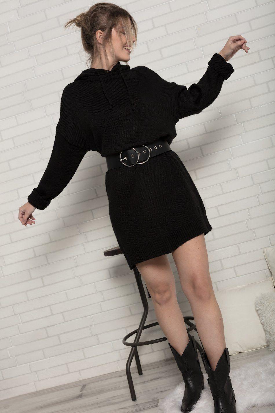 Vestido capucha negro