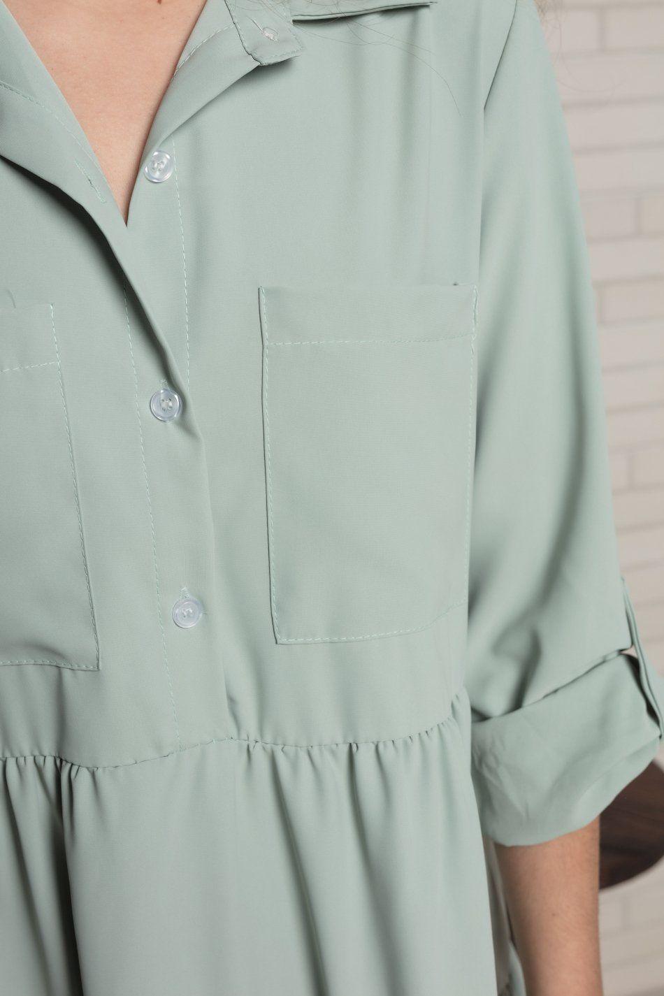 Vestido amplio bolsillos volantes verde