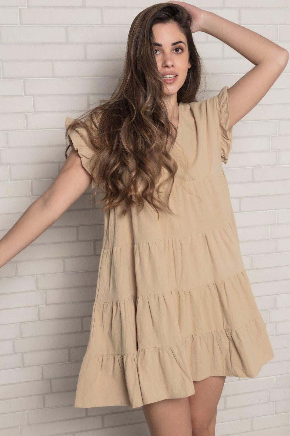 Vestido oversize camel