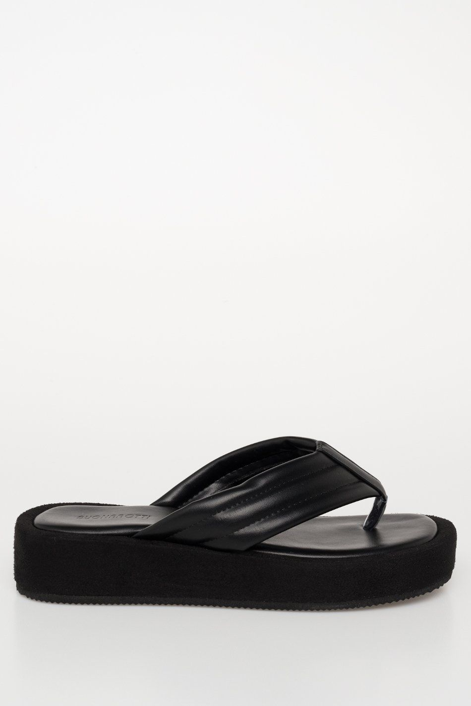 Sandalia flatform dedo acolchada líneas negro
