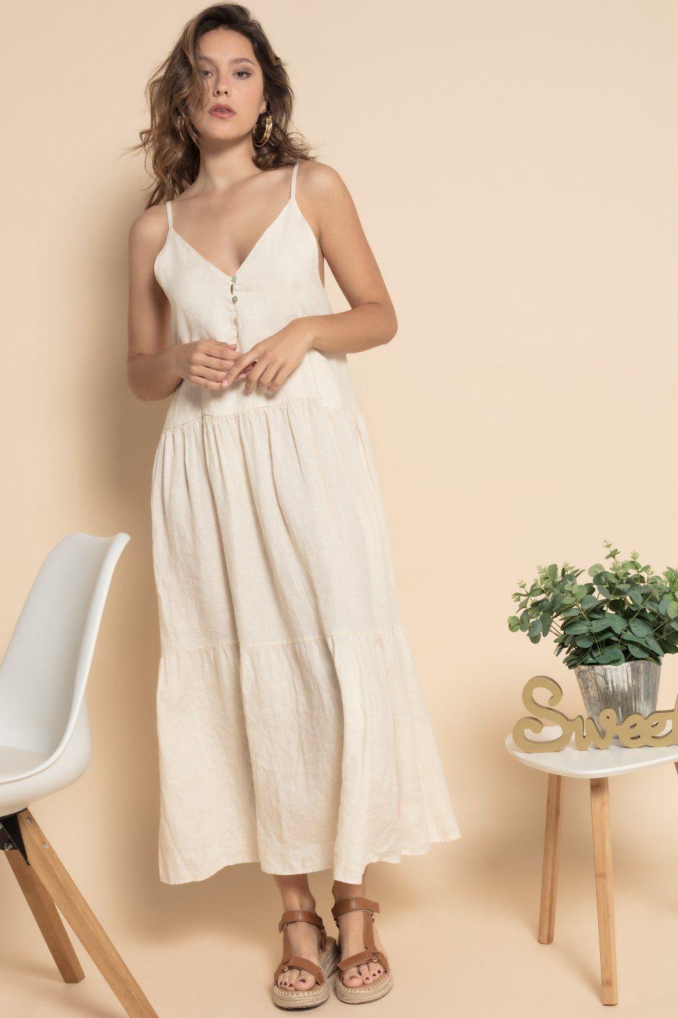Vestido largo lino beige